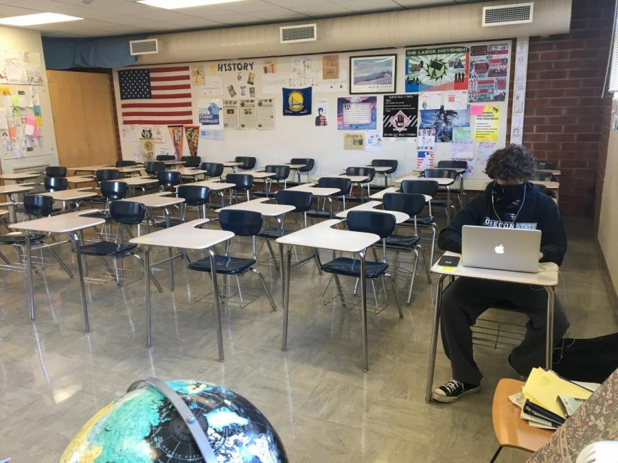 The Journalism classroom on the first day back from school