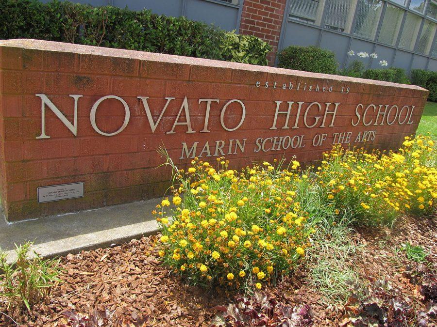 Novato High School sign.