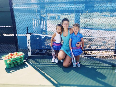 MacDonald and two of her tennis students