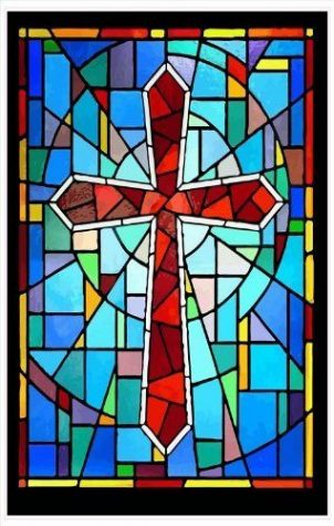 Stained glass cross.