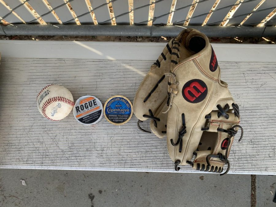 A+baseball+glove%2C+a+baseball%2C+and+two+cans+of+chewing+tobacco.
