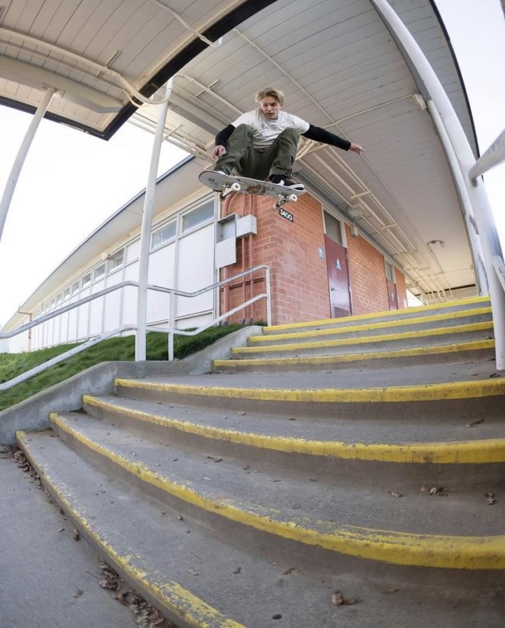 Quentin Sharkey boosts an Ollie over the infamous stair set at Novato High School