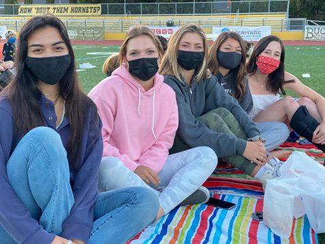Senior girls attending movie night.